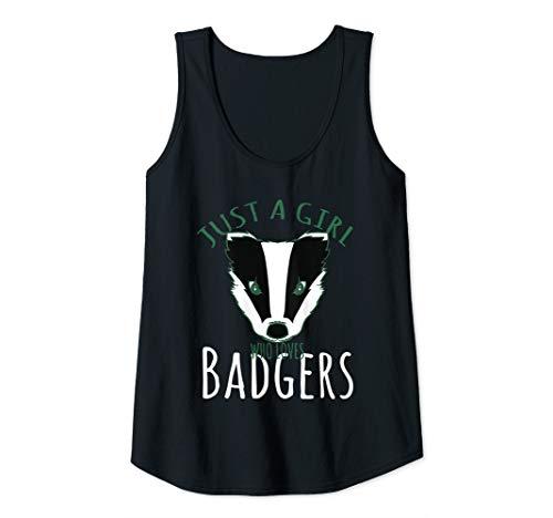 Womens Honey Badger Just A Girl Who Loves Badgers Lover Gift Tank Top (Badger Tank Top Honey)