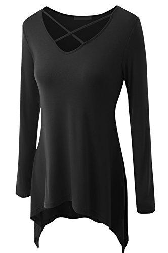 Jusfitsu - Camiseta de manga larga - Básico - cuello en V - Manga Larga - para mujer negro