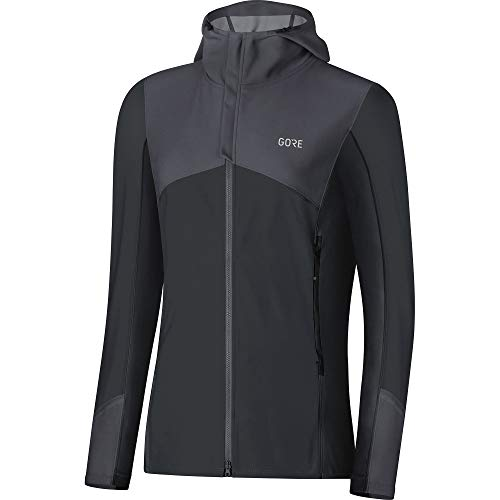 GORE Wear Women's Windproof Hooded Running Jacket, R3 Women's WINDSTOPPER Hooded Jacket, Size: M, Color: Terra Grey/Black, 100137 ()