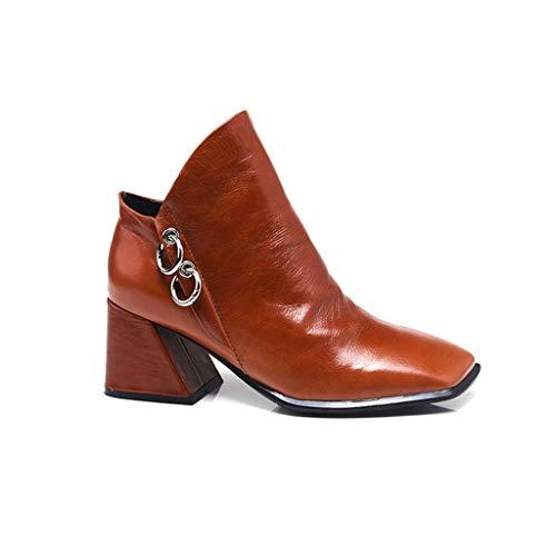Zapatos Brown Mujer Gruesos Cabeza Desnudas Botas De Tobillo Xxw46qn4vZ