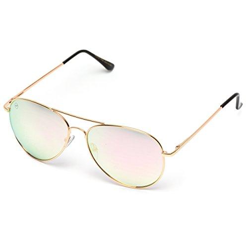 gafas Lens Espejo Plateado sol Color de Full metal Aviator Pink Mirror qXHOPw