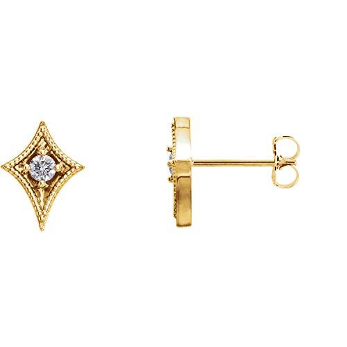 14K Yellow Gold 1/8 CTW Diamond Geometric Earrings