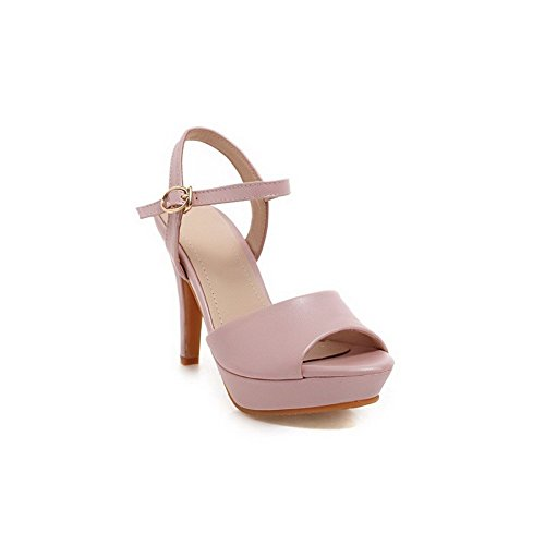 AllhqFashion Women's Peep Toe Buckle Pu Solid High-Heels Sandals Pink AAu9nd