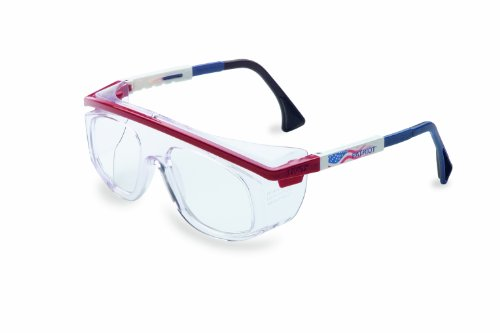 Uvex S2574 Astro Rx 3003 Safety Eyewear, Red/White/Blue Frame, Clear Lens -