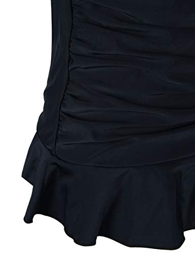Hilor Women's 50's Retro Ruched Tankini Swimsuit Top with Ruffled Hem Black 18