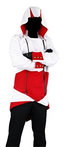 Cos2be Hoodie Jacket Coat(White&Red,Men-M) -