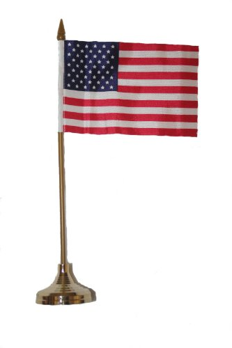 USA Small 4 X 6 Inch Mini Country Stick Flag Banner with GOLD STAND on a 10 Inch Plastic Pole .. New