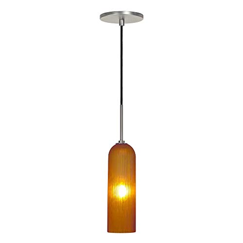 (Jesco Lighting PD411-AM/BN 1-Light Line Voltage Pendant and Canopy with Brushed Nickel Socket,)