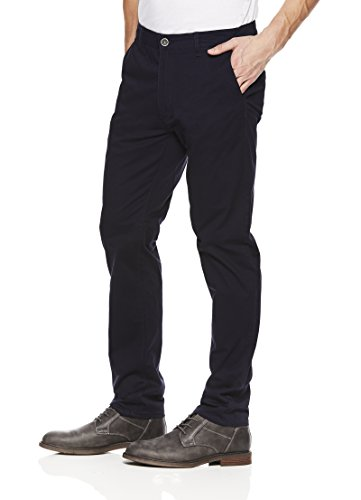 paperdenim&cloth Mens Designer 5 Pocket Slim Stretch Chino Twill Pants - Deep Sea Navy, 33/30 (Any Day Chino Pants)
