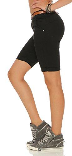ZARMEXX Mujeres Bermuda Pantalones cortos con la correa pantalones de algodón Chino-Pantalones cortos flacos negro