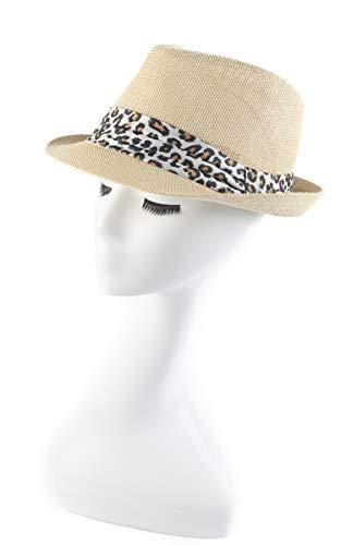 Straw Fedora Classic (Melesh Classic Sun Straw Trilby Fedora Hat (S/M, Rice-Leopard Band))