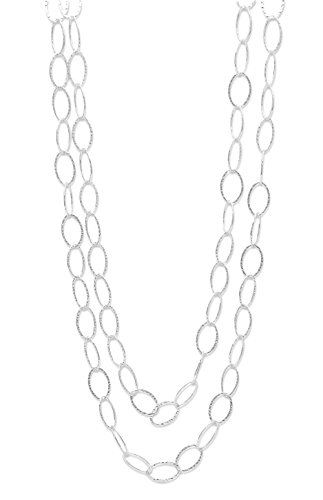 (Hammered Oval Link Sterling Silver Necklace, 60 in long, 1/2 inch wide)