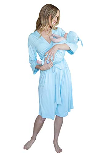 Baby Be Mine Maternity Labor Delivery Matching Robe and Swaddle Blanket and Hat Set, Hospital Bag Must Have (L/XL 10-20, Light Blue)