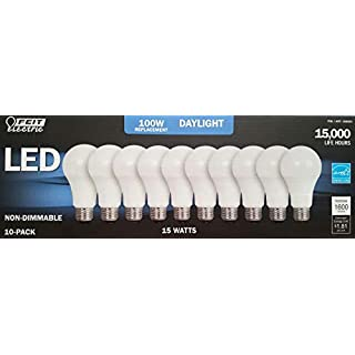 FEIT 100w LED Replacement Bulbs using 15W Daylight 5000K 1600 Lumens (10 Lamps)