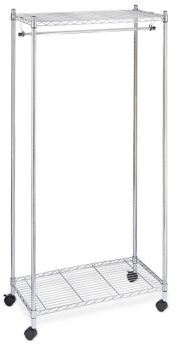 Whitmor Supreme Garment Rack - Double Shelf Rolling Clothes Organizer - Chrome - bedroomdesign.us