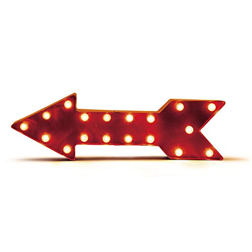 Glitzhome Battery Operated Marquee LED Lighted Arrow Sign, 15.98 by 5.04 by 5.04, Red