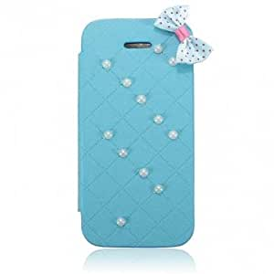 Beautiful Pearl PU Leather Filp Card Slot Case Cover For iPhone 5 5S @ Color==White