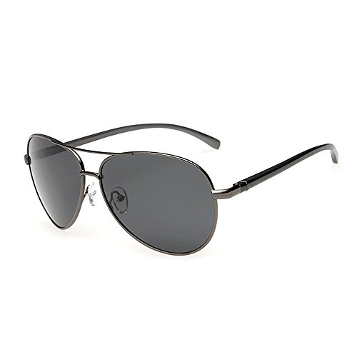 J+S Premium Ultra Sleek, Military Style, Sports Aviator Sunglasses, Polarized, 100% UV protection (Large Frame - Ash Grey Frame/Black - Sunglass Military
