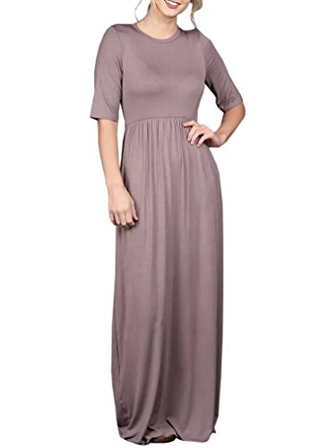 Plain Swing Imysty Maxi with Casual Dress Women's Loose Pockets Coffee Neck Crew Dresses Long 8EEpqR