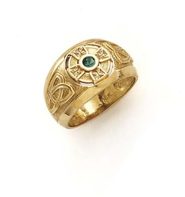 14k Yellow Gold Celtic Cross Synthetic Emerald Ring - Size 7.0