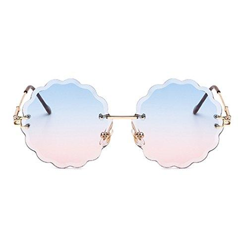 (Armear Women Girl Rimless Two Toned Lens Small Flower Sunglasses Round Lens 58mm)