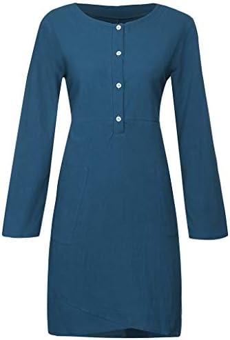 Realde - Vestido elegante para mujer, de algodón y lino, color ...