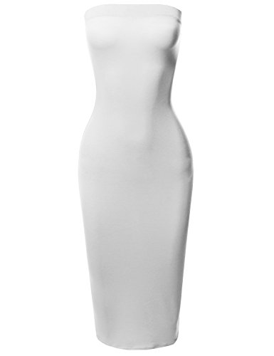 White Tube Dress - Solid Stretchable Body-Con Midi Tube Dress - Made in USA White L
