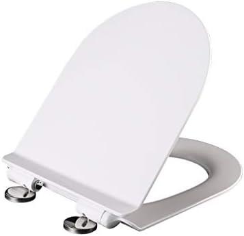 RBZCCP 便座超薄型U字型のプラスチックミュートトップマウントトイレのふたホワイト35.5x45cm ほとんどのトイレに適合
