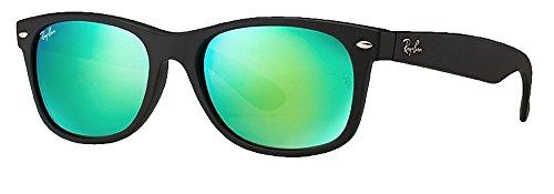 Ray-Ban RB2132 New Wayfarer Sunglasses Unisex (Matte Black Frame Green Mirror Lens, 55 mm) (Mirrored Wayfarers Ray Ban)