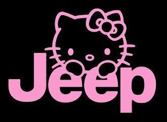 YWS Vinyl Sticker Decal - Hello Kitty Jeep - Sticker Laptop Car Truck Window Bumper Notebook Vinyl Decal SMA5310 (Windshield Kitty Hello Decal)