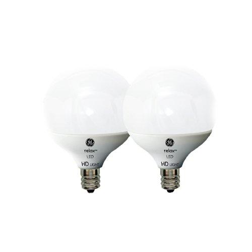 G16.5 Led (GE Lighting 92251 LED Relax HD 5-watt (40-watt Replacement), 350-Lumen G16.5 Light Bulb with Medium Base, Soft White, 2-Pack)