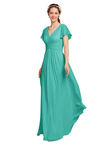 AW Chiffon Bridesmaid Dress with Sleeves V-Neck Wedding Maxi Evening Party Dress Long Plus Size Prom Gowns, Tiffany, - Prom Shoes Tiffany