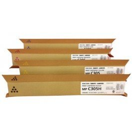 OEM Ricoh Brand Set of 4 Laser Toner Cartridges Includes: 1 841621 Black, 1 841591 Cyan, 1 841592 Magenta, and 1 841593 Yellow for use in Ricoh Aficio, Savin, and Lanier MP C305 Printer