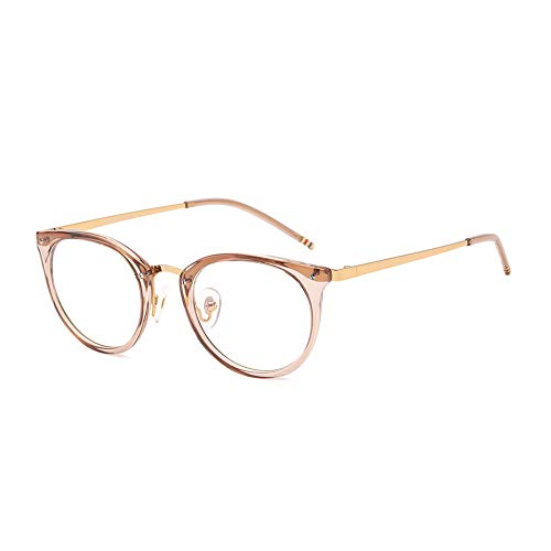 DONNA Stylish Clear Lens Women Glasses Circle Round Frame Blue Light Blocking for Computer ()