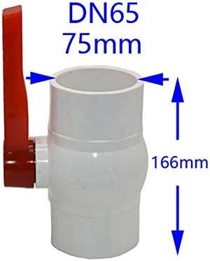 """Qiyuezhuangshi001 DN32 DN40 DN50 DN65塩ビ水バルブ1.25"""" 1.5"""" 2"""" 2.5"""" PVCボールバルブガーデンタップホットパイプチューブコネクタの1pcsを溶かします (色 : DN65 x 75mm)"""