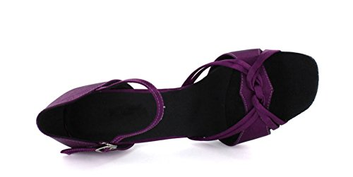 Dance Shoes Satin Women's Sandals Rumba Purple MINITOO Samba Modern M UK 5 Buckle Ballroom Stylish Knot tdqB8txpw0