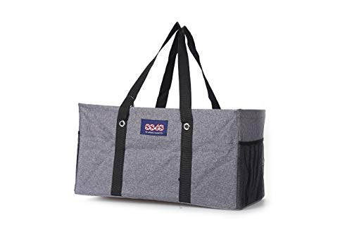 Large Collapsible Rectangle Container Utility Tote Bag (Multiple Colors/Prints) (L-003 Grey/7 Side -