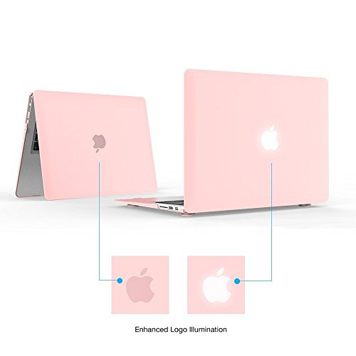 """iBenzer Basic Soft-Touch Series Plastic Hard Case & Keyboard Cover for Apple Macbook Air 13-inch 13"""" A1369/1466 (Rose Quartz)"""