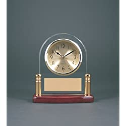 6 1/2 Arch Glass Desk Clock with Metal Posts & Rosewood Piano Finish CUSTOM ENGRAVED / PERSONALIZED!!