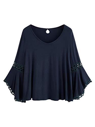 Dress Flounce Lace (MakeMeChic Women's Bell Sleeve V Neck Contrast Crochet Lace Tee Shirt Blouse Top Navy M)
