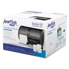 Compact Toilet Paper Dispenser and Angel Soft ps Compact Coreless Tissue Starter Kit, 750 Sheets a roll, 4 Rolls/Carton