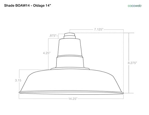 Cocoweb BOAW14BK-1B Oldage LED Barn Light With Metropolitan Stem, 14'', Black by Cocoweb (Image #1)