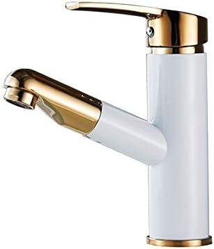 キッチン水栓 デッキマウント洗面所冷水お湯引き出しシンクの蛇口ホワイトゴールド付きフル銅セラミックバルブシングルハンドル浴室の蛇口プルダウンスプレー真鍮盆地水栓 キッチンとバスルームに適しています