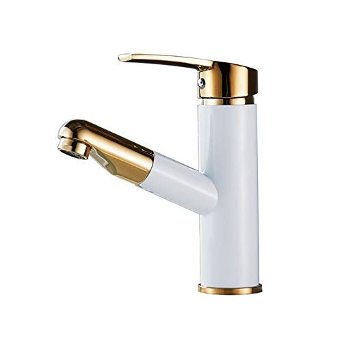Kitchen Faucet White With Gold Full-copper Faucet With Pull Down Sprayer Ceramic Valve Single Handle Bathroom Brass Basin Water Faucets Deck Mount Lavatory Cold Hot Water Pull Out Sink Faucet Drinking