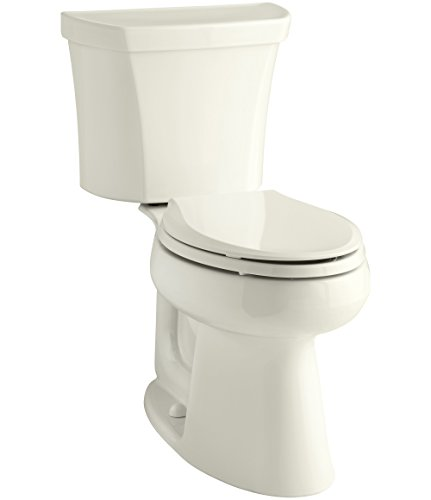 KOHLER 3989-RA-96 Highline Comfort Height Two-Piece Elongated Dual-Flush Toilet with Class Five Flush Technology and Right-Hand Trip Lever, Biscuit Biscuit Dual Flush