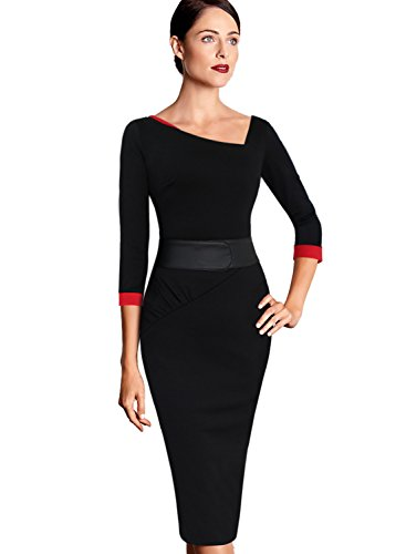 VFSHOW Womens Elegant Peplum Buttons Slim Work Business Office Church Sheath Dress 2276 BLK L
