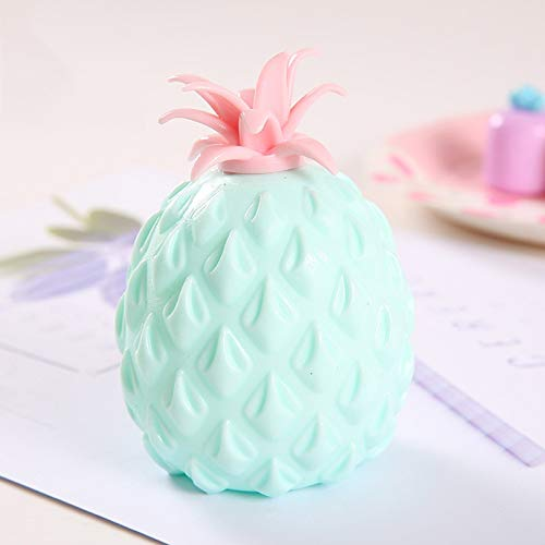 Balakie 3.94 Inches Pineapple Banana Slow Rising Kawaii Scented Soft Squeeze Toy Kids Stress Relief Office Decompression Toy (Pineapple-Green)