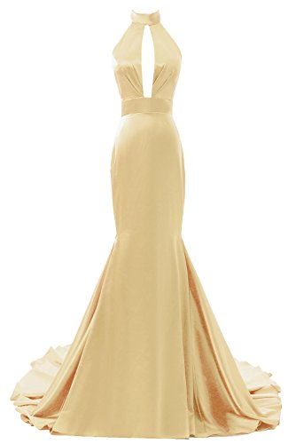 DYS Train Prom Long Mermaid Backless Halter with Dresses Evening Women's Yellow Dress XznpXx