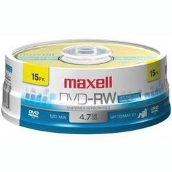 MAXELL 635117 4.7 GB DVD-RW (15-CT SPINDLE)