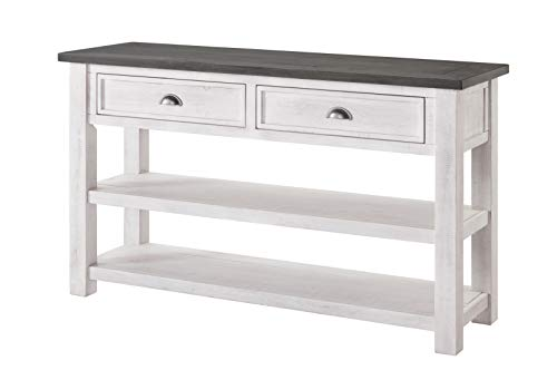 Martin Svensson Home Monterey Solid Wood Sofa Console Table White with Grey Top